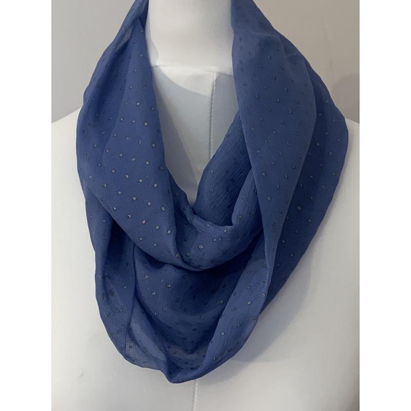 Snood en mousseline de soie bleu